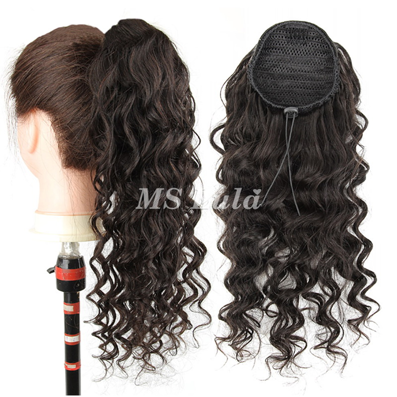 100% Virgin Remy Human Hair Extensions Loose Deep With Drawstring Ponytail
