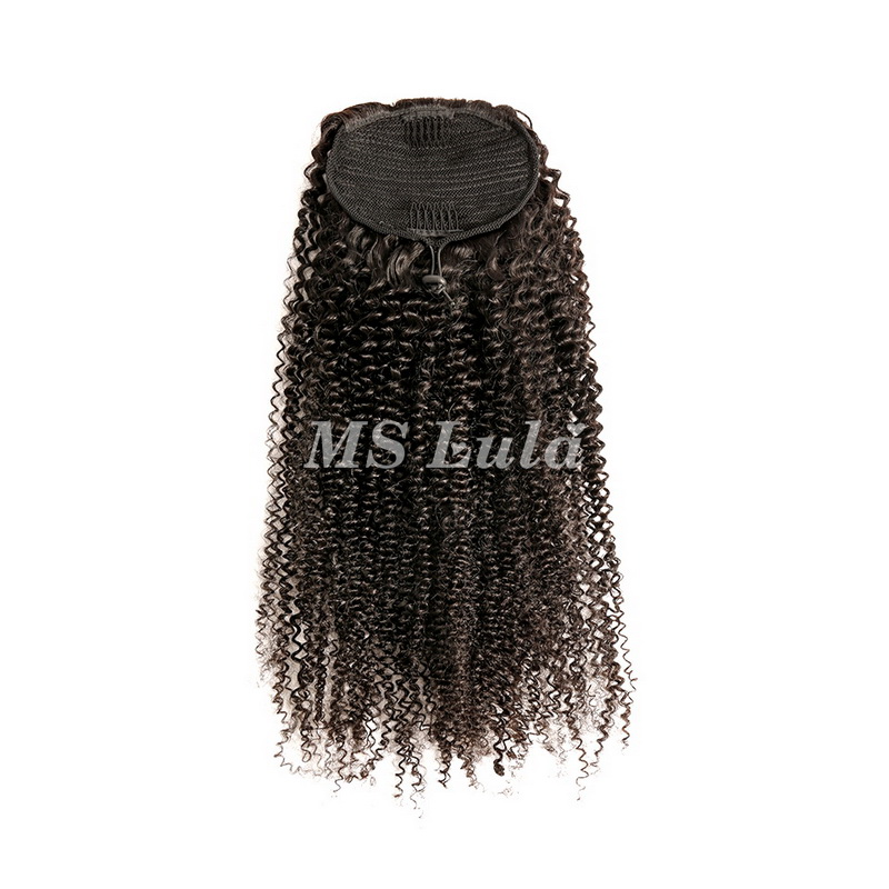 100% Virgin Remy Human Hair Extensions Kinky Curly With Drawstring Ponytail