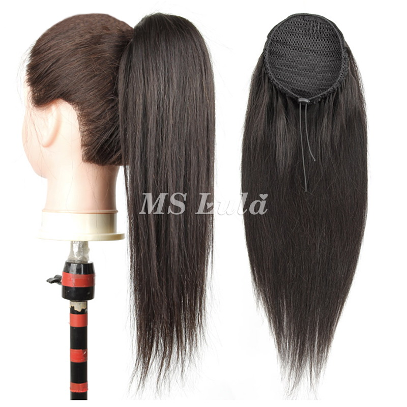 100% Virgin Remy Human Hair Extensions Straight With Drawstring Ponytail