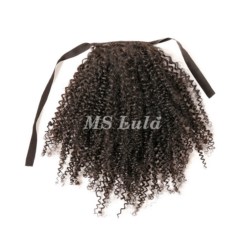 100% Virgin Remy Human Hair Kinky Curly Ponytail Hair Extensions