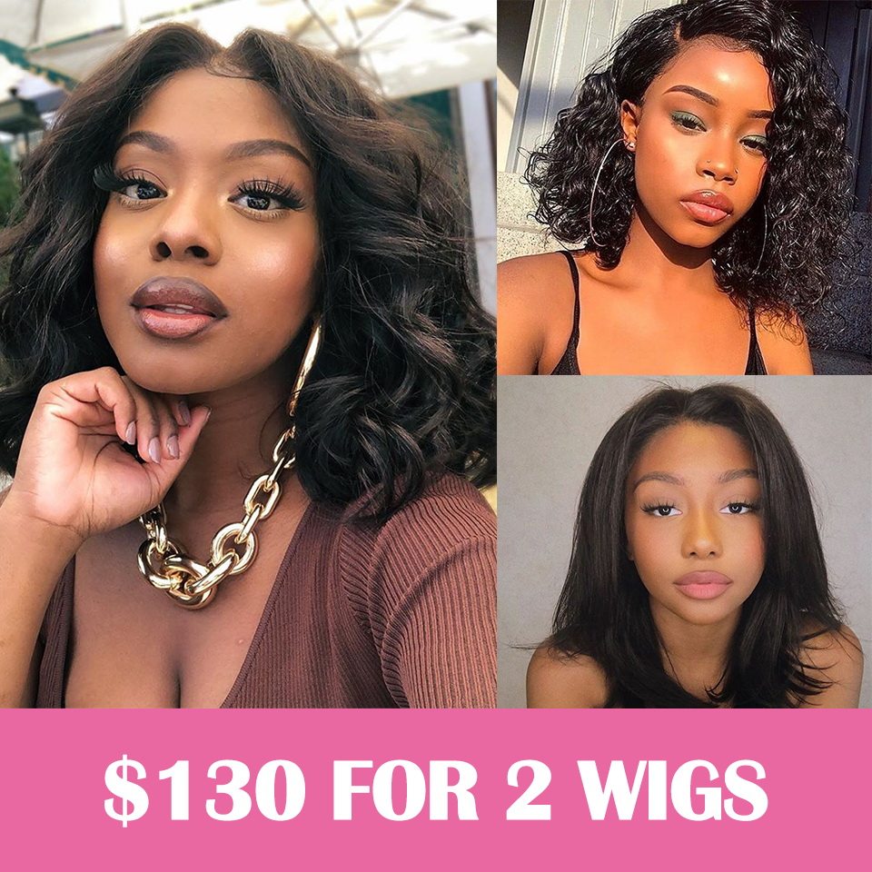Clearence Sale 2x360 Pre-plucked Lace Front Wig Deep Wave/Body Wave/Straight
