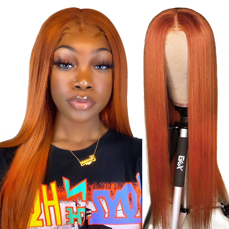Orange Ginger Color Virgin Human Hair T-Part Lace Wig Silky Straight