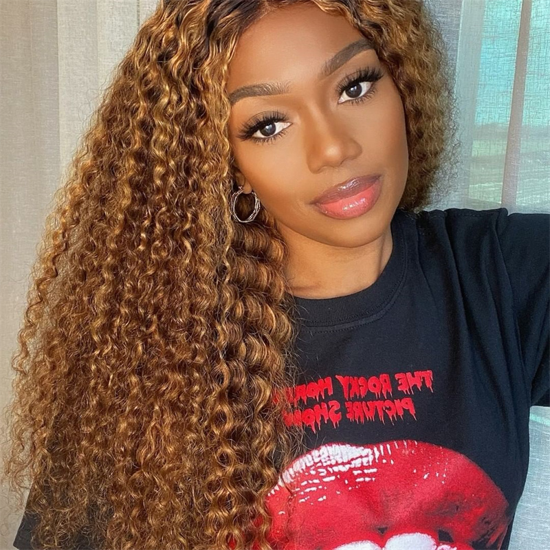 Piano Color Highlight #4/27 Virgin Human Hair Deep Wave Lace Front Wig