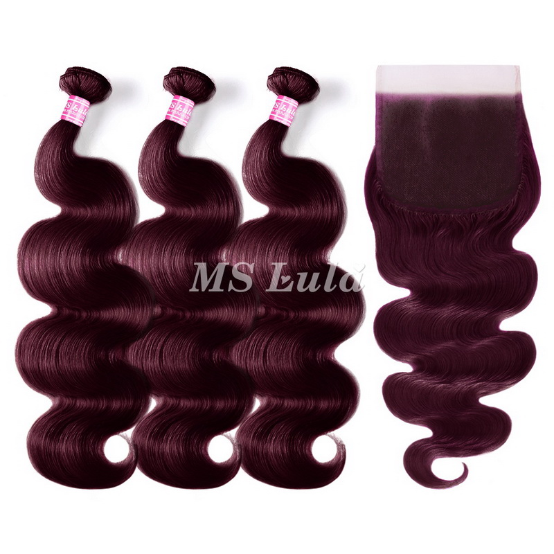 virgin 99J body wave hair bundles with 1 lace closure