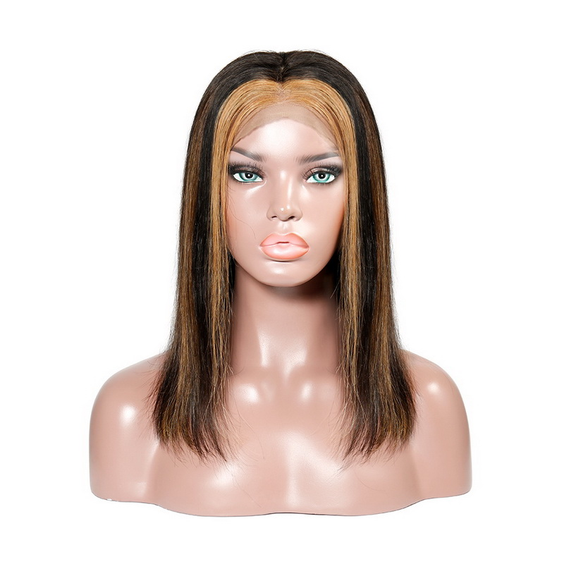 Highlight And Ombre Brown Honey Black Colored Virgin Human Hair Lace Front Wig Silky Straight