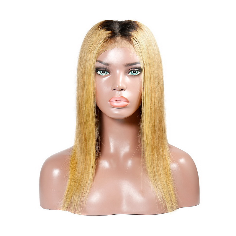 Black Root Ombre #27 Straight Human Hair Lace Front Wig