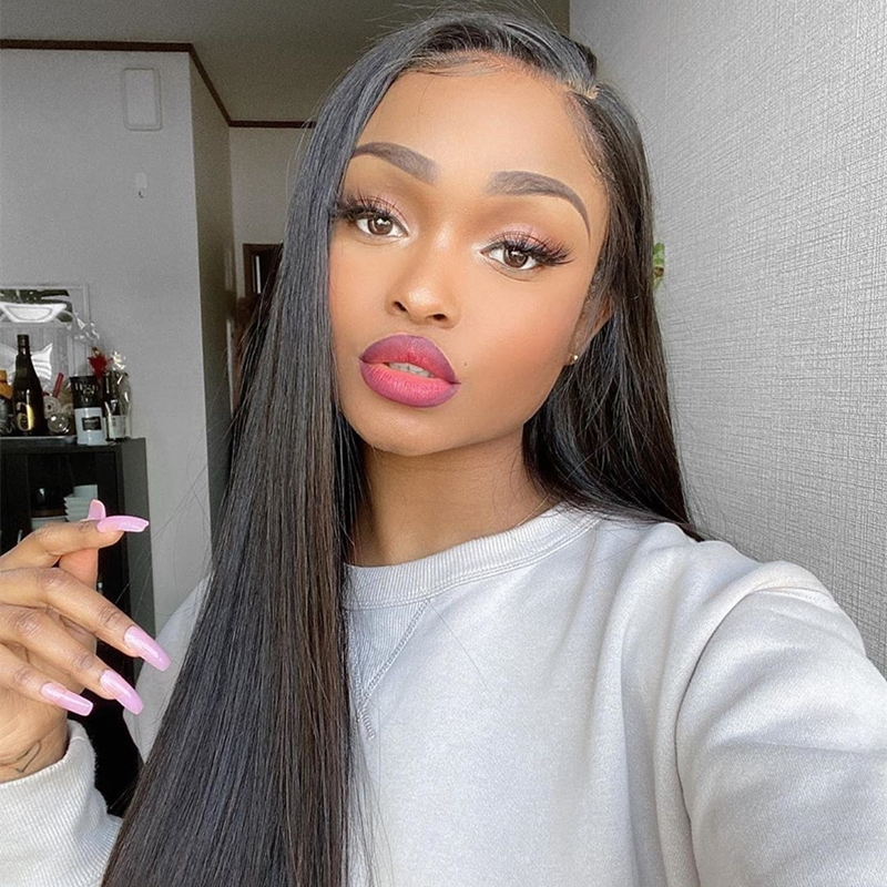 Clearence Sale Straight Virgin Human Hair U Shape Lace Front Wig