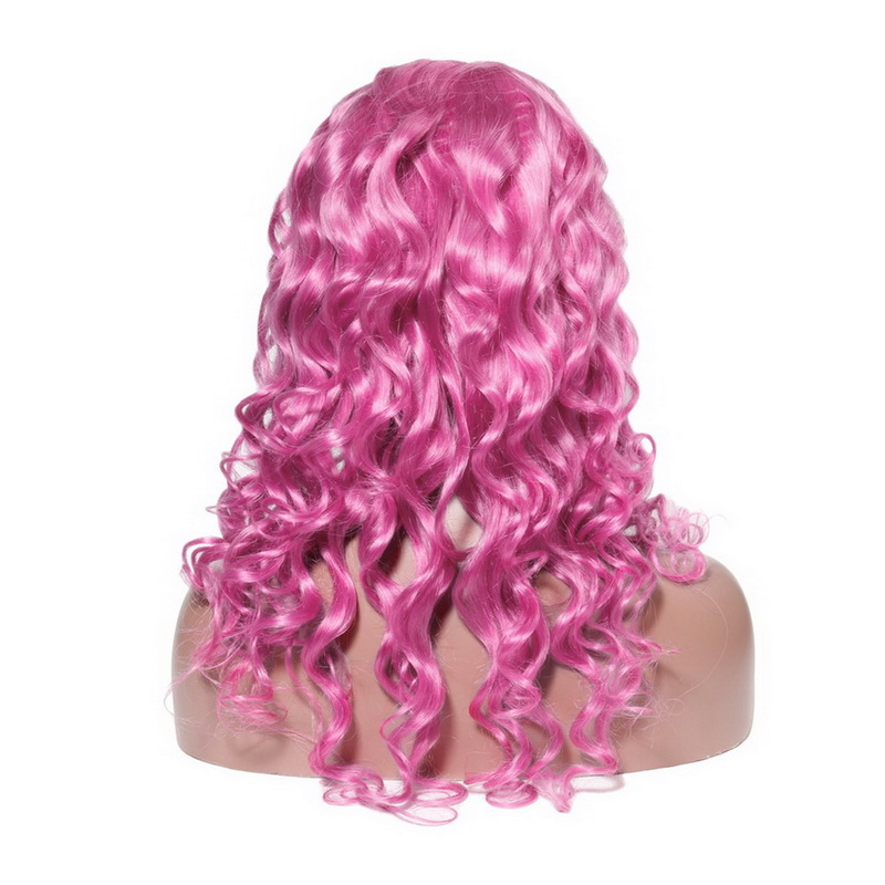 Virgin Human Hair 13x6 Loose Wave Hot Pink Lace Front Wigs